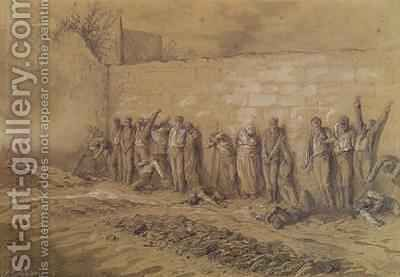 Execution at the Mur des Federes Pere Lachaise cemetery by Alfred Henri Darjou - Reproduction Oil Painting