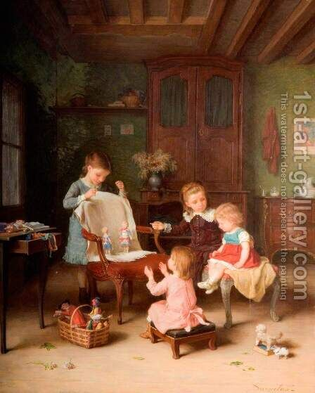 The Happy Family by Andre Henri Dargelas - Reproduction Oil Painting