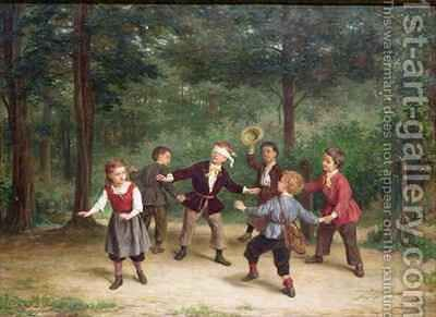 Blind Mans Buff 91316me children playing wood male female dlindfold colin maillard by Andre Henri Dargelas - Reproduction Oil Painting