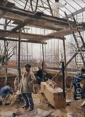 Building a glasshouse by Edouard Dantan - Reproduction Oil Painting