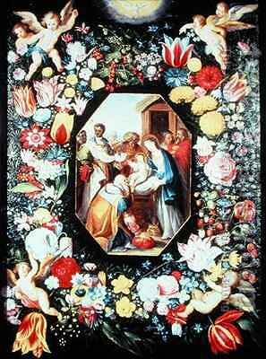 Adoration of the Magi framed in a garland of flowers by Andries Daniels or Danielsz - Reproduction Oil Painting