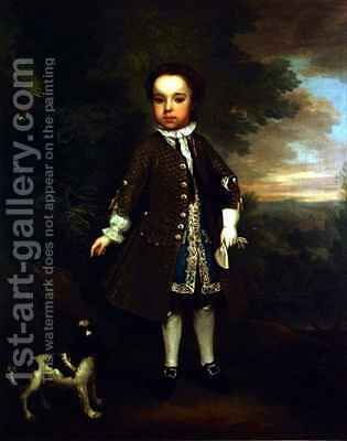 Portrait of a small boy with a spaniel and a parrot by Bartholomew Dandrige - Reproduction Oil Painting