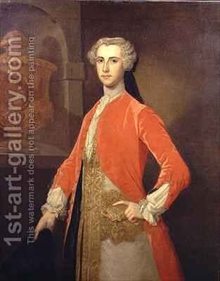 Portrait of Francis Seymour Conway Marquess of Hertford 1719-94 in the Hunting Livery of George II by Bartholomew Dandrige - Reproduction Oil Painting