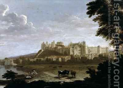 View of Windsor Castle with Cattle and Bathers by Hendrick Danckerts - Reproduction Oil Painting