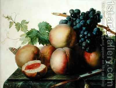 Still Life with Peaches and Grapes on Marble by Jan Frans Van Dael - Reproduction Oil Painting