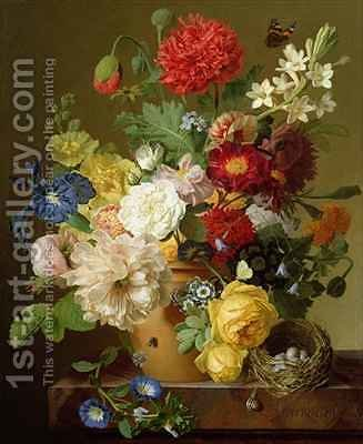 Flower Still Life on a marble ledge by Jan Frans Van Dael - Reproduction Oil Painting
