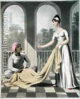 A European Lady giving instructions to her Durzee by Charles D'Oyly - Reproduction Oil Painting