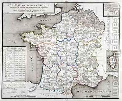 Map of France depicting the departmental divisions by D'Houdan - Reproduction Oil Painting