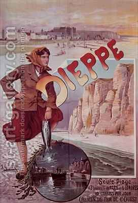 French Railways poster advertising the attractions of Dieppe by Hugo d'Ales - Reproduction Oil Painting