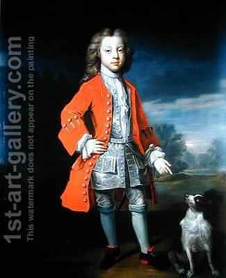 Portrait of a Boy Wearing a Red Jacket with his Spaniel by Charles d' Agar - Reproduction Oil Painting