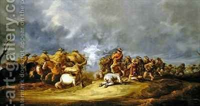 A Calvary Charge mounted troops attacking a musket block by Benjamin Gerritsz. Cuyp - Reproduction Oil Painting