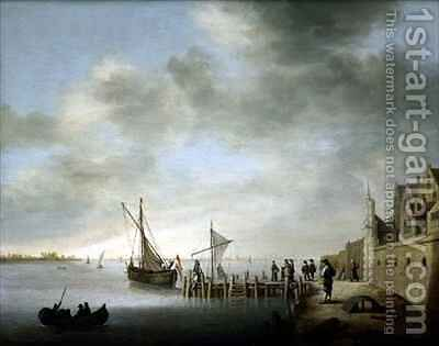 The Melkpoortje on the Dordrecht Harbour by Aelbert Cuyp - Reproduction Oil Painting