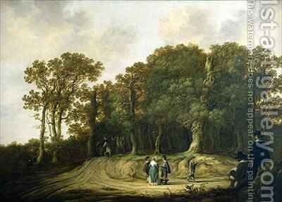 A Wooded Landscape with the Artist Sketching by Aelbert Cuyp - Reproduction Oil Painting