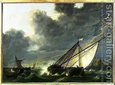 Boats in the Estuary of Holland Diep in a Storm by Aelbert Cuyp - Reproduction Oil Painting