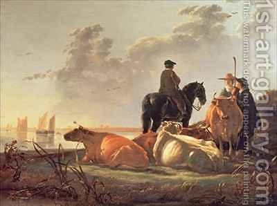 Peasants and Cattle by the River Merwede by Aelbert Cuyp - Reproduction Oil Painting