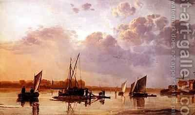 Boats on a River by Aelbert Cuyp - Reproduction Oil Painting