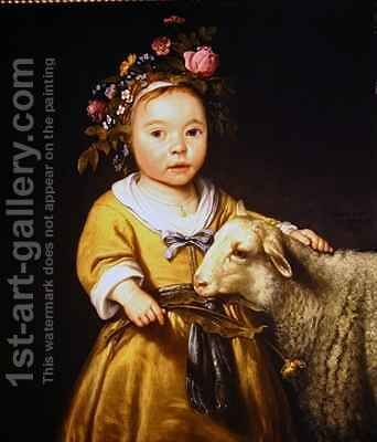 Portrait of a girl with a lamb by Aelbert Cuyp - Reproduction Oil Painting