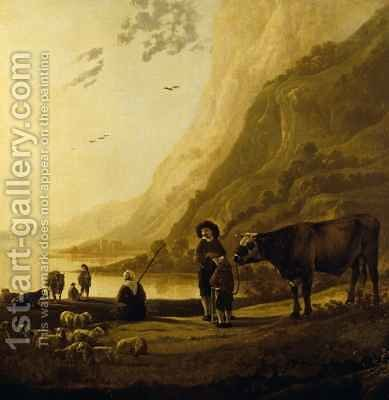Landscape with a herdsman and bull by Aelbert Cuyp - Reproduction Oil Painting