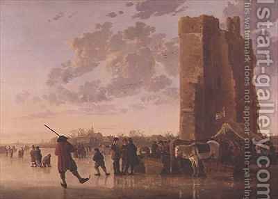 View of the Maas in Winter by Aelbert Cuyp - Reproduction Oil Painting