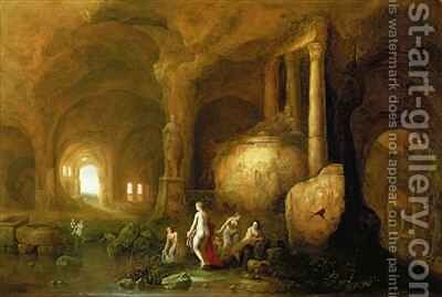 Nymphs Bathing by Classical Ruins by Abraham van Cuylenborch - Reproduction Oil Painting