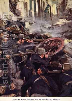 How the Brave Belgians Held up the German Advance by Cyrus Cuneo - Reproduction Oil Painting