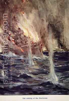 The Sinking of the Gneisenau by Cyrus Cuneo - Reproduction Oil Painting