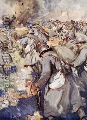 The French Force rushed forward to take possession of the Crater by Cyrus Cuneo - Reproduction Oil Painting