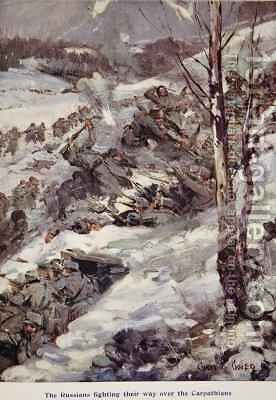 The Russians fighting their way over the Carpathians by Cyrus Cuneo - Reproduction Oil Painting
