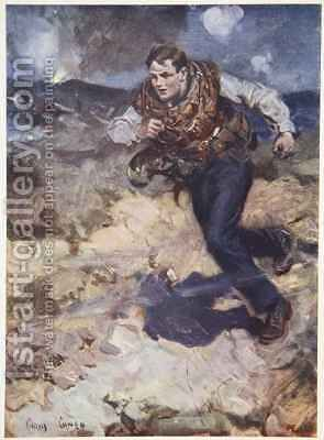 Heroic Middy carrying ammunition to the hardpressed British fighters by Cyrus Cuneo - Reproduction Oil Painting