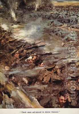 Their men advanced in dense masses by Cyrus Cuneo - Reproduction Oil Painting