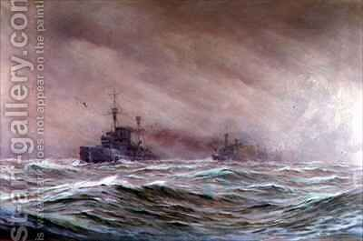 Second Cruiser Squadron North Sea 1914-16 by Alma Claude Burlton Cull - Reproduction Oil Painting
