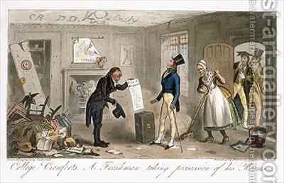 College Comforts A Freshman taking possession of his Rooms by Isaac Robert Cruikshank - Reproduction Oil Painting