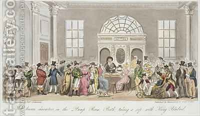 Well known Characters in the Pump Room Bath Taking a Sip with King Bladud by Isaac Robert Cruikshank - Reproduction Oil Painting