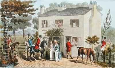 The Oakland Cottages Cheltenham or Fox Hunters and their Favourites by Isaac Robert Cruikshank - Reproduction Oil Painting