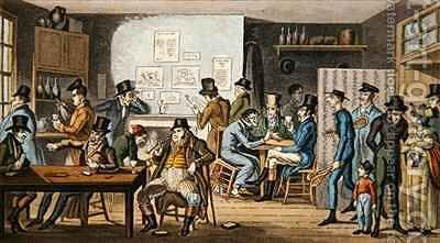 Logic in a debtors prison being visited by Tom and Jerry by Isaac Robert Cruikshank - Reproduction Oil Painting