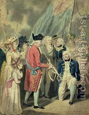 Admiral Collingwood 1750-1810 Receiving the Silver Sword by Isaac Cruikshank - Reproduction Oil Painting