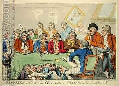 The delegates in council or beggars on horseback by Isaac Cruikshank - Reproduction Oil Painting