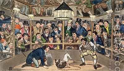 Tom and Jerry sporting their blunt on the phenomenon Monkey Jacco Macacco at the Westminster Pit by I. Robert and George Cruikshank - Reproduction Oil Painting