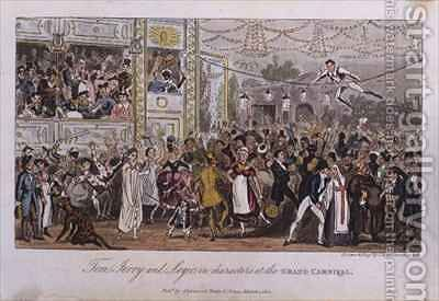 Tom Jerry and Logic in characters at the Grand Carnival by I. Robert and George Cruikshank - Reproduction Oil Painting