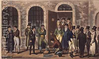 Tom Jerry and Logic visiting condemned prisoners at Newgate Prison by I. Robert and George Cruikshank - Reproduction Oil Painting