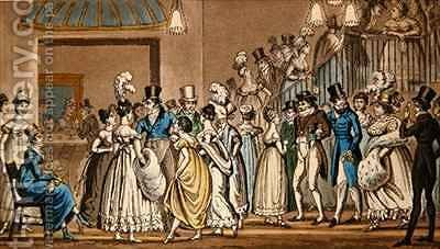 In the foyer at Covent Garden Theatre by I. Robert and George Cruikshank - Reproduction Oil Painting