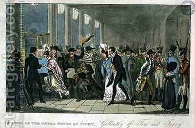 Outside of the Opera House at Night Gallantry of Tom and Jerry by I. Robert and George Cruikshank - Reproduction Oil Painting
