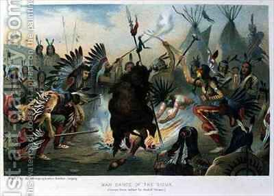 War Dance of the Sioux by (after) Cronau, Rudolf - Reproduction Oil Painting