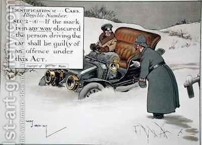 Identification of Cars Illegible Number Sec 2-4If the mark is in any way obscured the person driving the car shall be guilty of an offence under this Act by Charles Crombie - Reproduction Oil Painting