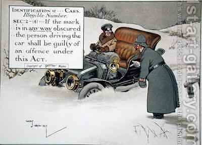 Identification of Cars Illegible Number Sec 2-4If the mark is in any way obscured the person driving the car shall be guilty of an offence under this Act 2 by Charles Crombie - Reproduction Oil Painting