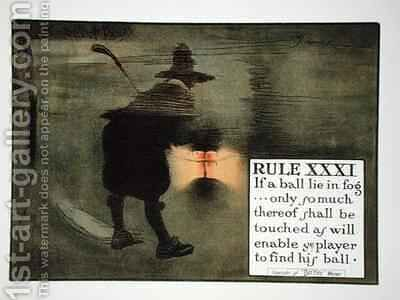 Rule XXXI If a ball lie in fog only so much thereof shall be touched as will enable ye player to find his ball by Charles Crombie - Reproduction Oil Painting