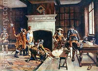 Oliver Cromwell 1599-1658 at the Blue Boar in Holborn by (after) Crofts, Ernest - Reproduction Oil Painting