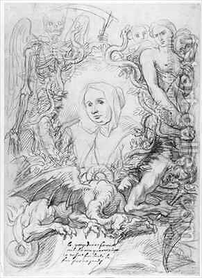 Catherine Monvoisin with the Three Fates on the right and Death on the left by Antoine Coypel - Reproduction Oil Painting