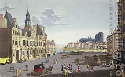 View of the Place de lHotel de Ville as seen from the Rue du Mouton by Henri Courvoisier-Voisin - Reproduction Oil Painting
