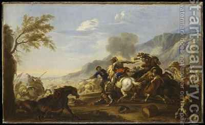 A Battle Scene by Jacques (Le Bourguignon) Courtois - Reproduction Oil Painting